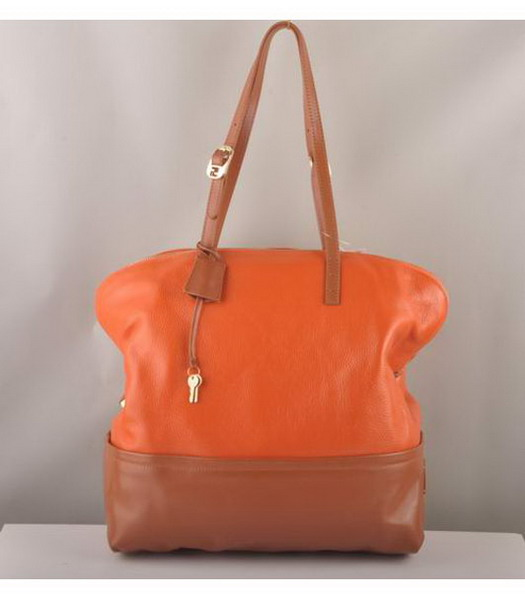 Fendi FF Zucca Shopper Orange & Earth Yellow Leather