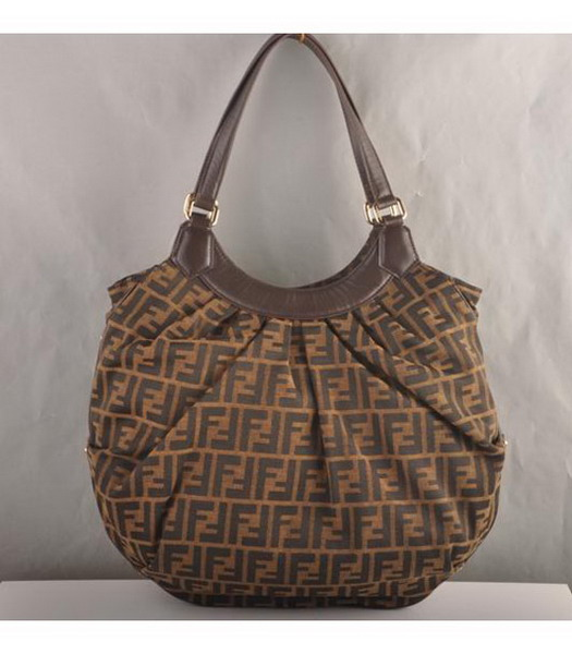 Fendi Canvas with Coffee Calfskin Handbag
