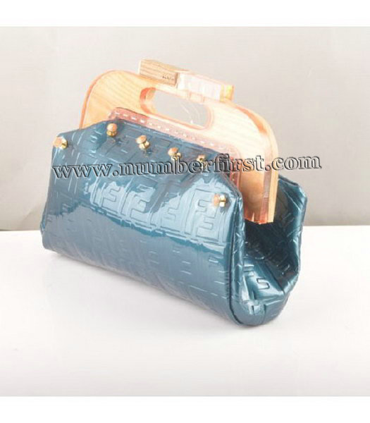 Fendi Clutch Bag Embossed Patent Leather Blue-1