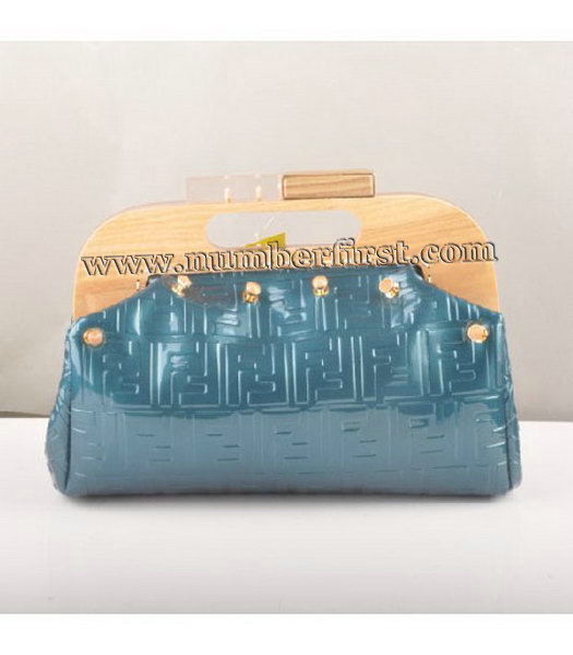 Fendi Clutch Bag Embossed Patent Leather Blue-2