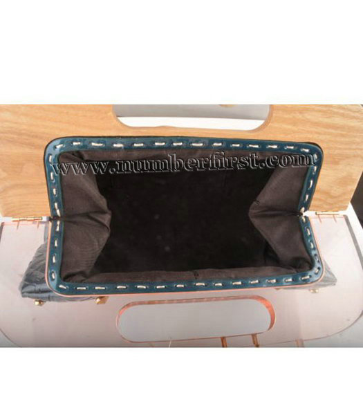 Fendi Clutch Bag Embossed Patent Leather Blue-4