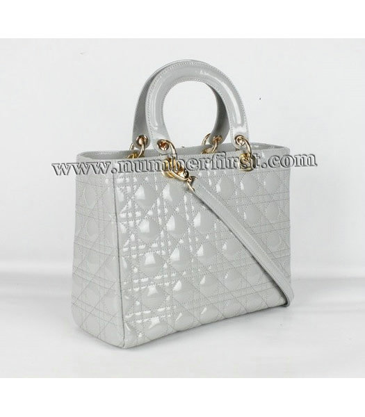 Dior Middle Lady Cannage Gold D Patent Leather Tote Bag Light Grey-1
