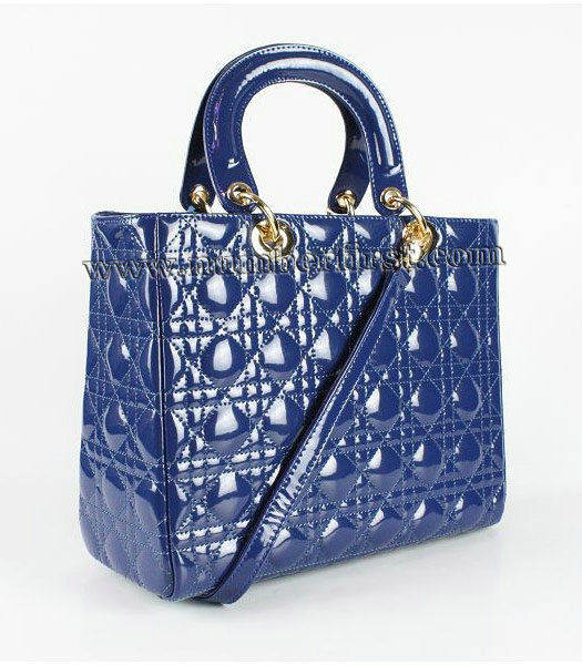 Dior Middle Lady Cannage Gold D Patent Leather Tote Bag Blue-1