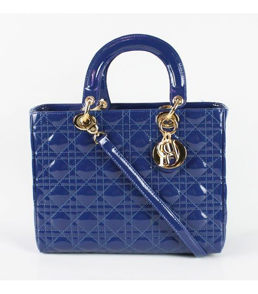Dior Middle Lady Cannage Gold D Patent Leather Tote Bag Blue