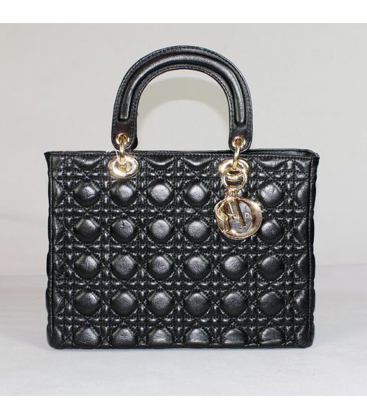 Dior Middle Lady Cannage Gold D Lambskin Tote Bag Black