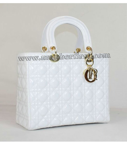 Dior Middle Lady Cannage Gold D Patent Leather Tote Bag White-1