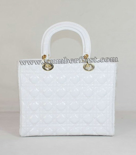 Dior Middle Lady Cannage Gold D Patent Leather Tote Bag White-2