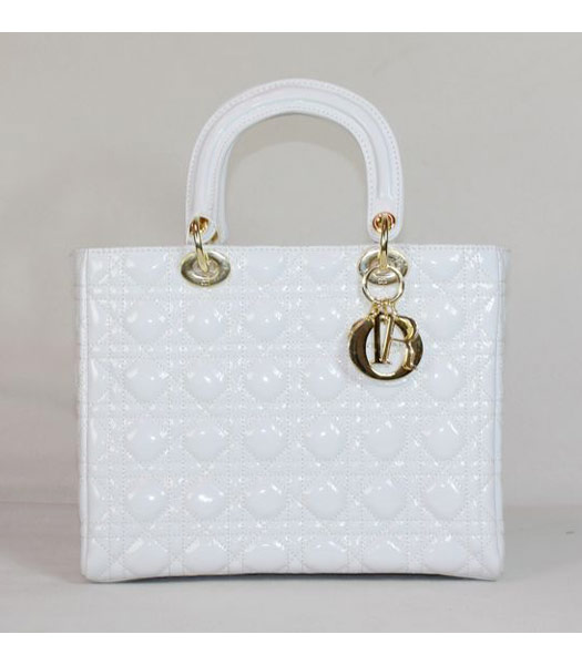 Dior Middle Lady Cannage Gold D Patent Leather Tote Bag White
