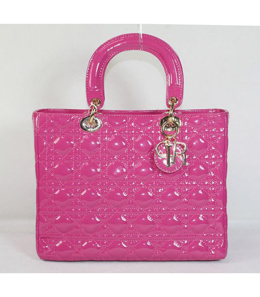 Dior Middle Lady Cannage Gold D Patent Leather Tote Bag Fuchsia