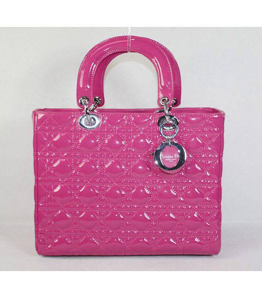 Dior Middle Lady Cannage Silver D Patent Leather Tote Bag Fuchsia