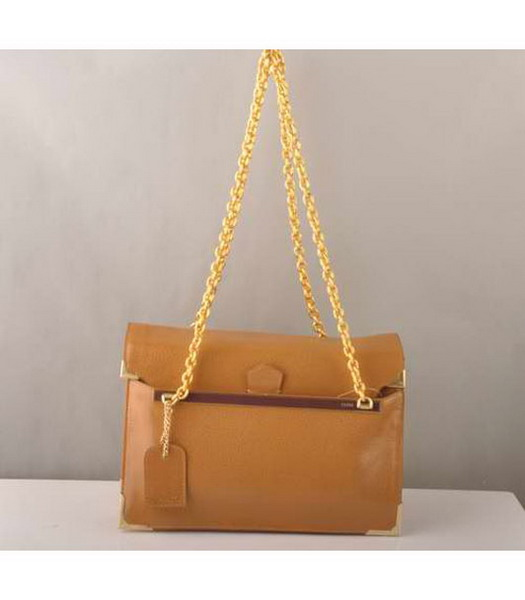 Fendi Chain Shoulder Bag in Earth Yellow