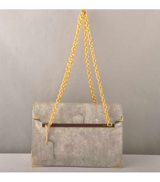 Fendi Chain Shoulder Bag in Silver Grey Patent Leather