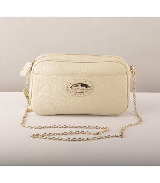 Fendi Chain Bag Offwhite Cow Leather