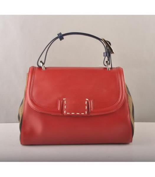Fendi Flap Bag Red Cow Leather with Canvas Trim