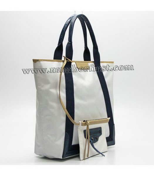 Balenciaga Canvas Tote Bag with Leather Lining in White-1
