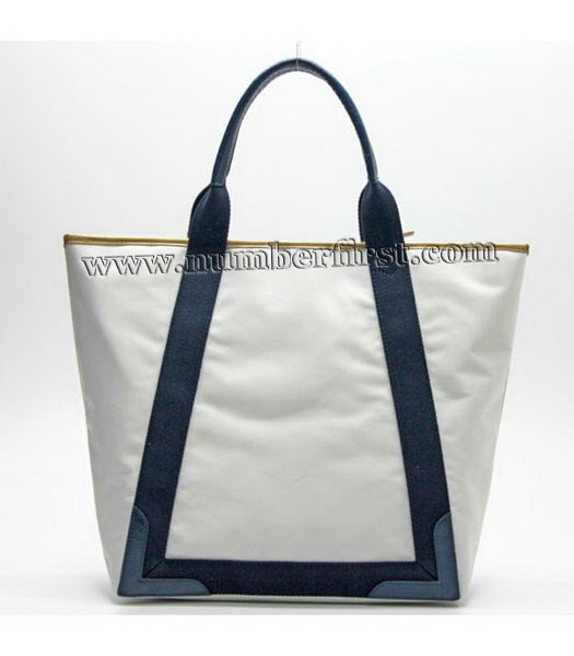 Balenciaga Canvas Tote Bag with Leather Lining in White-2