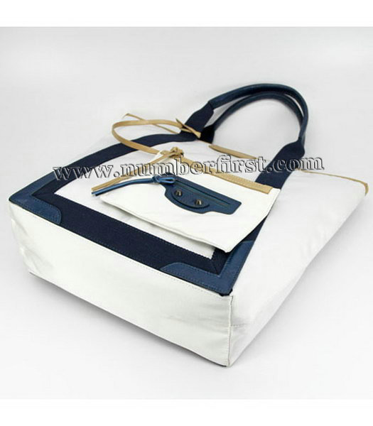 Balenciaga Canvas Tote Bag with Leather Lining in White-3