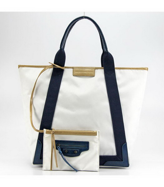Balenciaga Canvas Tote Bag with Leather Lining in White