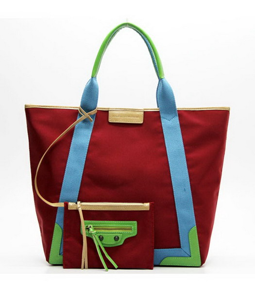 Balenciaga Canvas Tote Bag with Leather Lining in Red