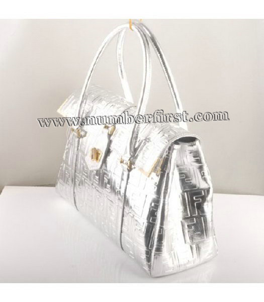 Fendi Classico Embossed Patent Leather Tote Bag Silver-1