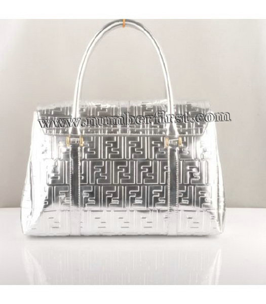 Fendi Classico Embossed Patent Leather Tote Bag Silver-2