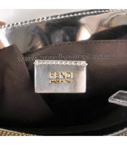 Fendi Classico Embossed Patent Leather Tote Bag Silver-6