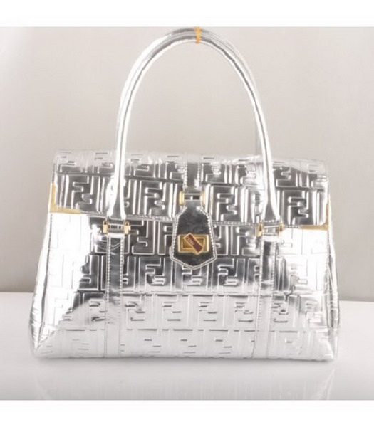 Fendi Classico Embossed Patent Leather Tote Bag Silver
