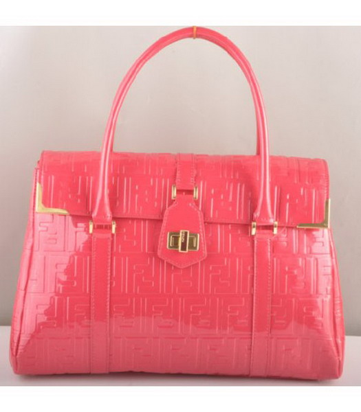 Fendi Classico Embossed Patent Leather Tote Bag Red