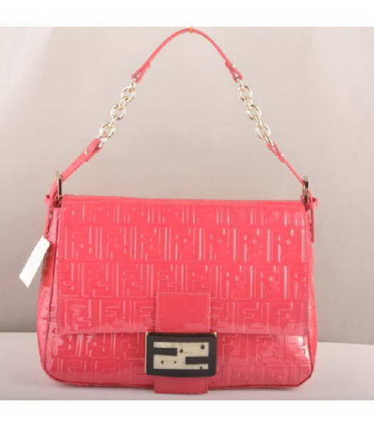 Fendi Forever Mama Large Flap Bag Red Patent Embossed Leather