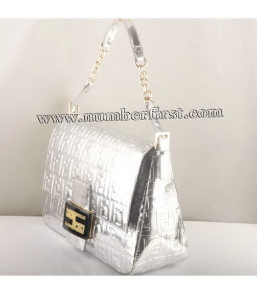 Fendi Forever Mama Large Flap Bag Silver Patent Embossed Leather-1