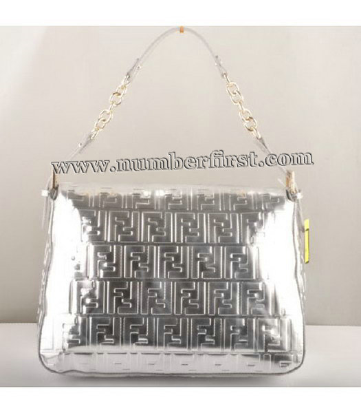 Fendi Forever Mama Large Flap Bag Silver Patent Embossed Leather-2