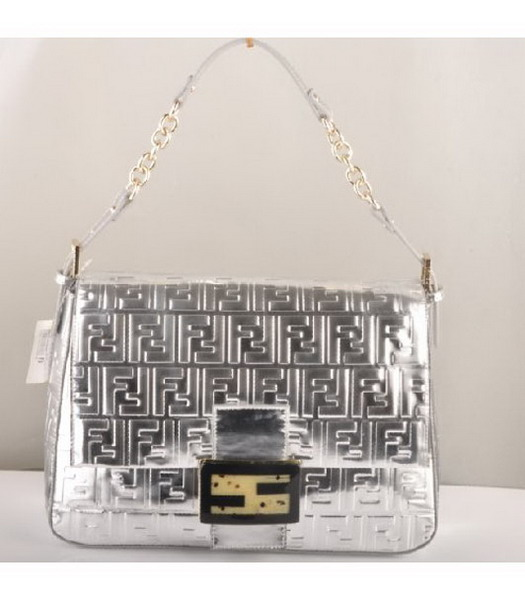 Fendi Forever Mama Large Flap Bag Silver Patent Embossed Leather