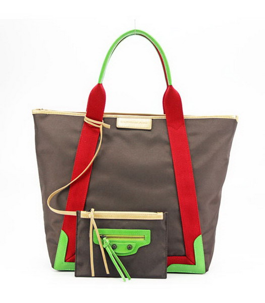 Balenciaga Canvas Tote Bag with Leather Lining in Coffee