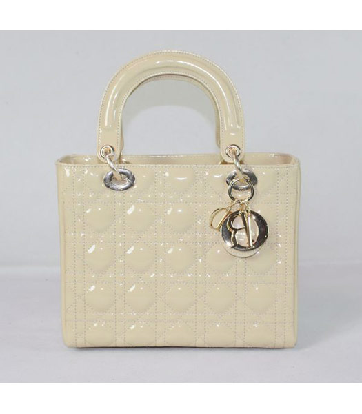 Dior Small Lady Cannage Gold D Tote Bag Apricot Patent Leather