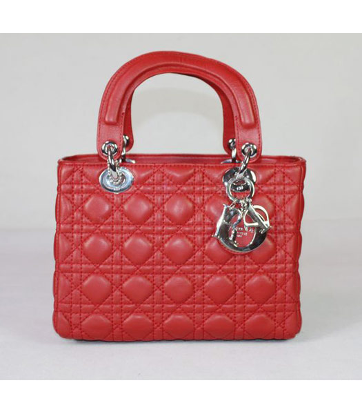 Dior Small Lady Cannage Silver D Tote Bag Red Lambskin