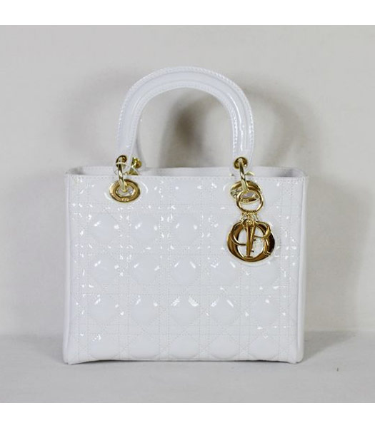 Dior Small Lady Cannage Gold D Tote Bag White Patent Leather