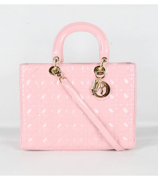 Dior Large Lady Cannage Gold D Tote Bag Pink Patent Leather