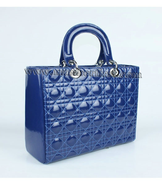 Dior Large Lady Cannage Silver D Tote Bag Blue Patent Leather-1