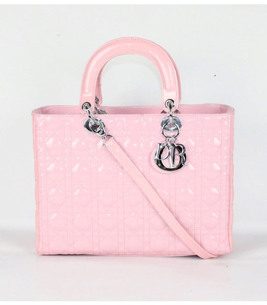 Dior Large Lady Cannage Silver D Tote Bag Pink Patent Leather