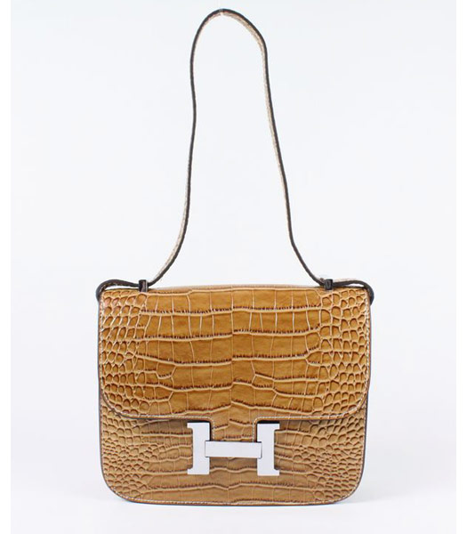Hermes Constance Bag Silver Lock Light Coffee Croc Veins Leather