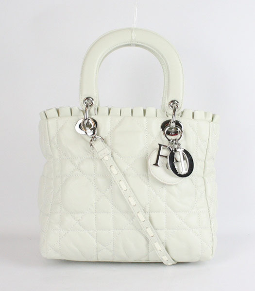 Christian Dior Small Lace Tote Bag in Offwhite Lambskin