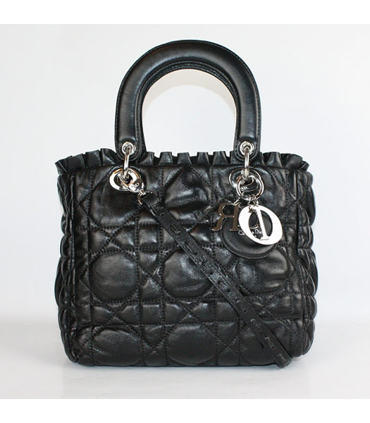 Christian Dior Small Lace Tote Bag in Black Lambskin