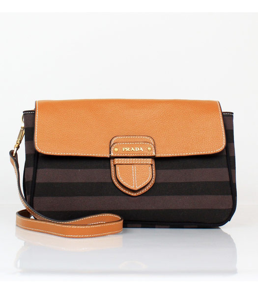 Prada Light Coffee Leather with Coffee Fabric Tote Bag