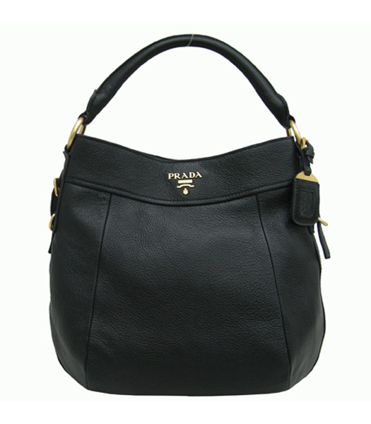 Prada Grained Calf Leather Pale Bag in Black