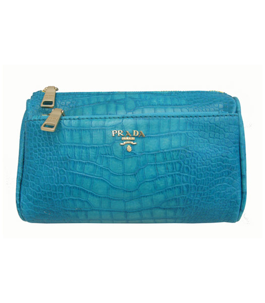 Prada Sky Blue Croc Veins Clucth Cosmetic Bag