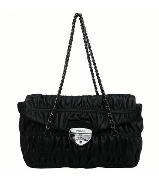 Prada Tessuto Gauffre Nappa Black Shoulder Bag