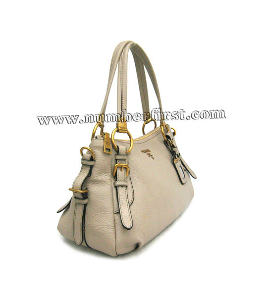 Prada Nappa Gaufre Tote Bag in Grey Leather-2