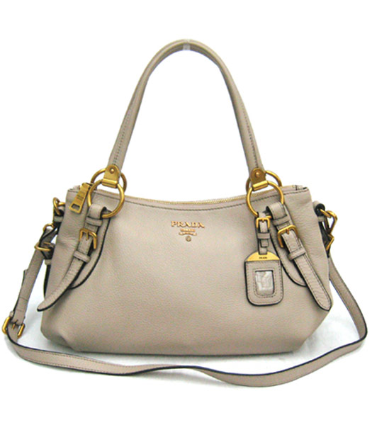 Prada Nappa Gaufre Tote Bag in Grey Leather