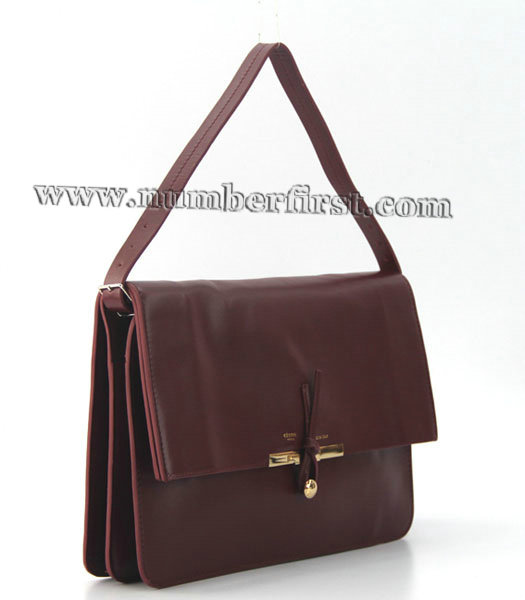 Celine Classic Flap Bag in Wine Red Leather-1