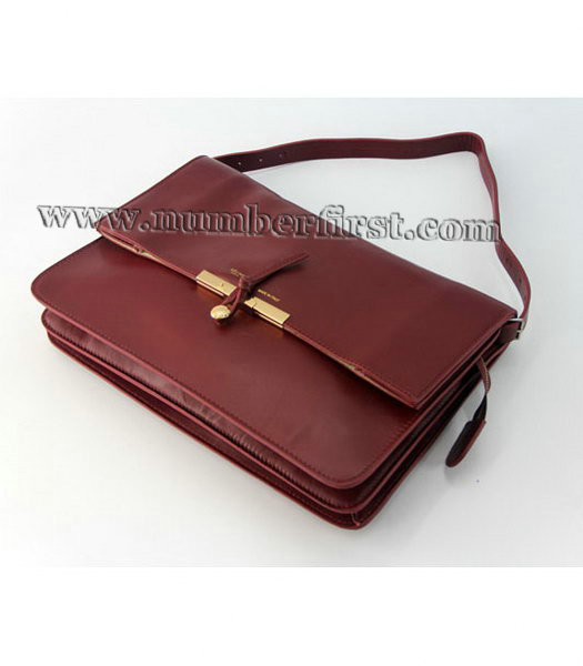 Celine Classic Flap Bag in Wine Red Leather-3